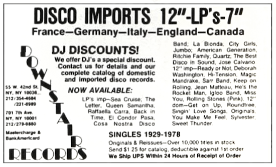 Downstairs Records ad (1978)