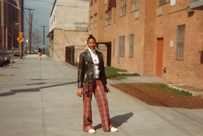 Cindy Campbell in front of 1520 Sedgwick Avenue (1970s)