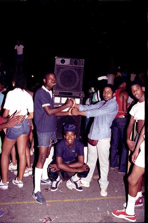 G Man and Speakers at Bronx Park Jam (ca. 1980)