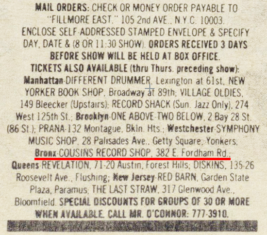 Bronx Cousins Record shop Magazine ad (1969)
