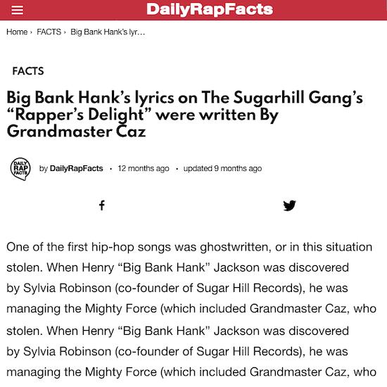 "The Sugarhill Gang's ""Rapper's Delight"" were written By Grandmaster Caz"