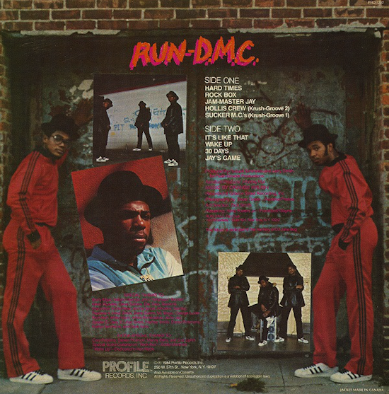 """Run-D.M.C."" album back cover (1984)"