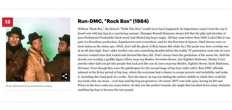 "[13] Run-DMC ""Rock Box"" (1984)"