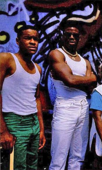 DJ Code Money (left) and Schoolly D (1986)