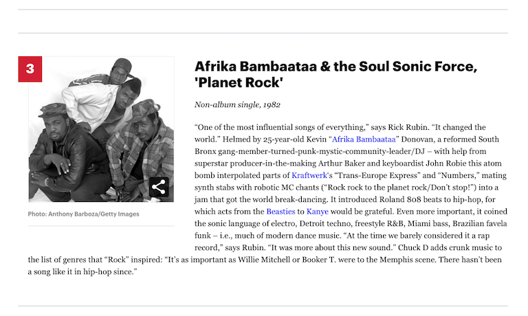[3] Afrika Bambaataa & the Soul Sonic Force 'Planet Rock' (1982) Rolling Stone