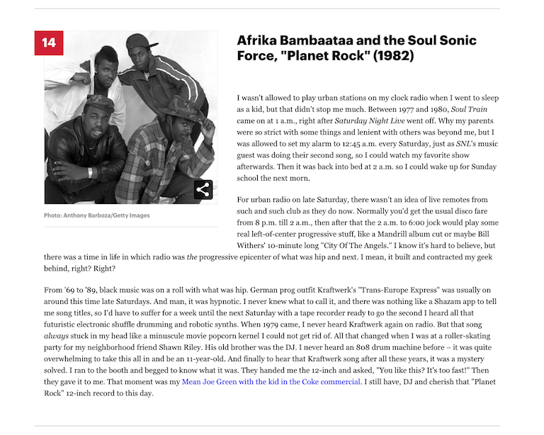 Afrika Bambaataa and the Soul Sonic Force Planet Rock (1982) Rolling Stone