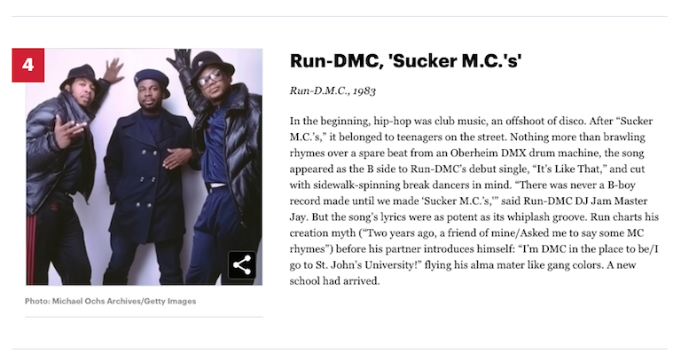 [4] Run-DMC 'Sucker M.C.'s' The 50 Greatest Hip-Hop Songs of All Time :Rolling Stone