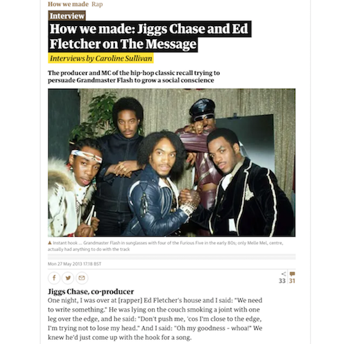 How we made: Jiggs Chase and Ed Fletcher on The Message : The Guardian