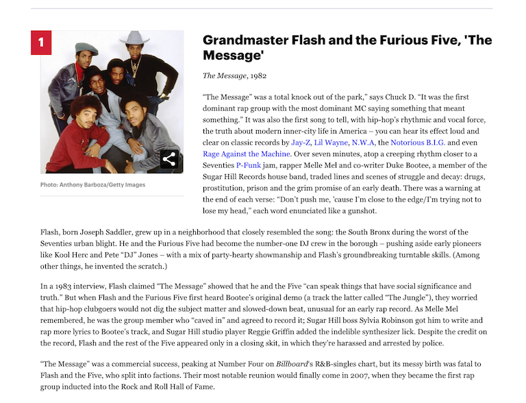 [1] Grandmaster Flash and the Furious Five 'The Message' (1982)