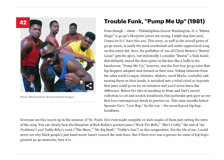 "[42] Trouble Funk, ""Pump Me Up"" (1981)"