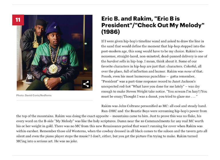 "[11] Eric B. and Rakim, ""Eric B Is President"" / ""My Melody"" (1986)"